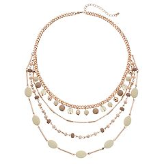 Bead Multi Strand Statement Necklace