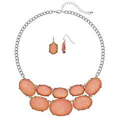 Peach Oval Cabochon Statement Necklace & Drop Earring Set