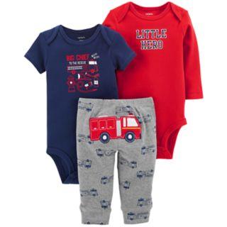 "Baby Boy Carter's 3-piece. ""Little Hero"" Bodysuit & Pants Set"