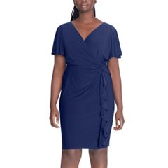 Plus Size Chaps Ruffle Faux-Wrap Dress