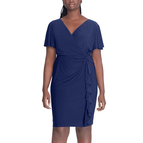 4b8b060957 Plus Size Chaps Ruffle Faux-Wrap Dress