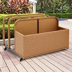 Crosley Furniture Palm Harbor Patio Wicker Float Caddy Storage Bin