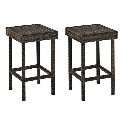 Crosley Furniture Palm Harbor Patio Wicker Counter Stool 2-piece Set