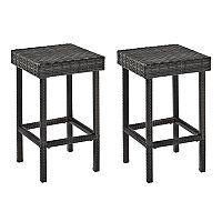 Crosley Furniture Palm Harbor Patio Wicker Counter Stool 2 pc Set