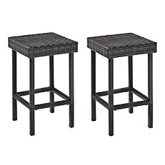 Crosley Furniture Palm Harbor Patio Wicker Counter Stool 2-piece Set