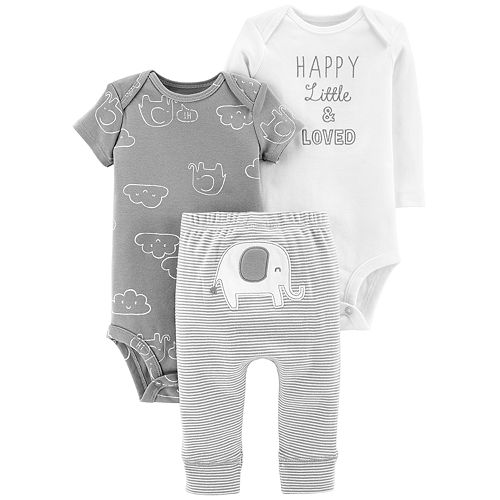 Baby Carter's 3-piece. Elephant Bodysuit & Pants Set