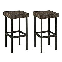 Crosley Furniture Palm Harbor Patio Wicker Bar Stool 2 pc Set