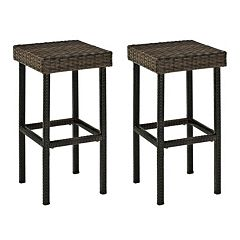 Crosley Furniture Palm Harbor Patio Wicker Bar Stool 2 pc Set