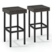 Crosley Furniture Palm Harbor Patio Wicker Bar Stool 2-piece Set