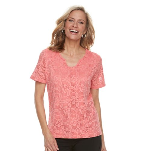 Women's Napa Valley Floral Lace Embellished Top