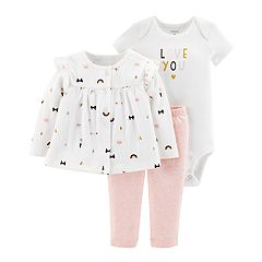 Baby Girl Carter's 'Love You' Bodysuit, Print Cardigan & Pants Set