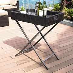 Crosley Furniture Palm Harbor Patio Wicker Bar Tray Table
