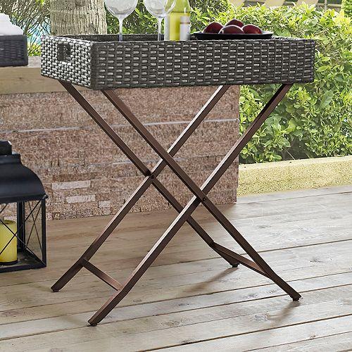 Crosley Furniture Palm Harbor Patio Wicker Bar Tray Table