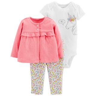 Baby Girl Carter's Unicorn Bodysuit, Ruffled Cardigan & Floral Leggings Set