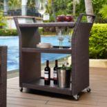 Crosley Furniture Palm Harbor Patio Wicker Bar Cart