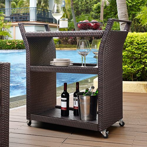 Crosley Furniture Palm Harbor Patio Wicker Bar Cart