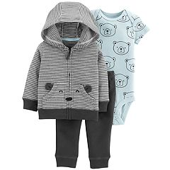 Baby Boy Carter's Bear Bodysuit, Striped Cardigan & Pants Set