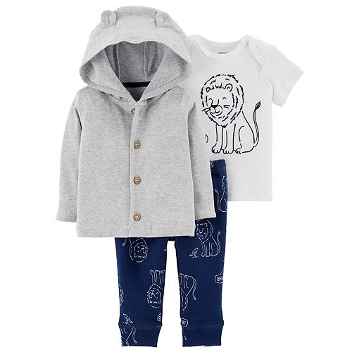 Baby Boy Carter's Graphic Tee, Hooded Cardigan & Lion Pants Set