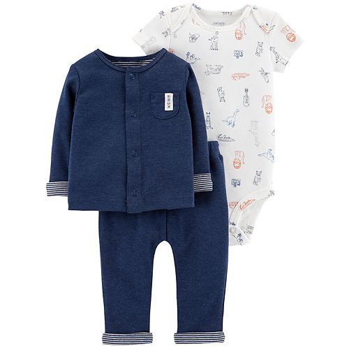 Baby Boy Carter's Animal Bodysuit, Cardigan & Pants Set