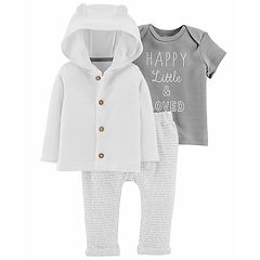 Baby Carter's 'Happy, Little & Loved' Tee, Hooded Cardigan & Word-Print Pants Set