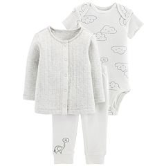 Baby Carter's Cloud Bodysuit, Quilted cardigan & Embroidered Pants Set