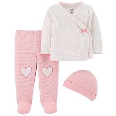Baby Girl Carter's Polka-Dot Top, Footed Pants & Hat Set