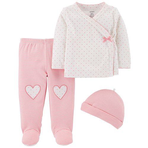 Baby Girl Carter's Polka-Dot Top, Footed Pants & Hat Set