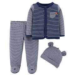 Baby Boy Carter's Striped Cardigan, Pants & Hat Set