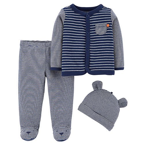 Baby Boy Carter's Striped Cardigan, Pants & Hat Set