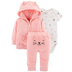 Baby Girl Carter's Print Bodysuit, Hooded Cardigan & Embroidered Pants Set