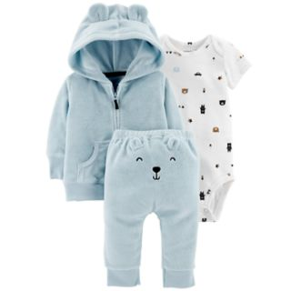 Baby Boy Carter's Print Bodysuit, Hooded Cardigan & Embroidered Pants Set