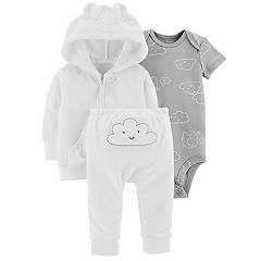 Baby Carter's Cloud Bodysuit, Hooded Terry Cardigan & Pants Set
