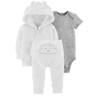 Baby Carter's Cloud Bodysuit, Hooded Terry Cardigan & Pants Set