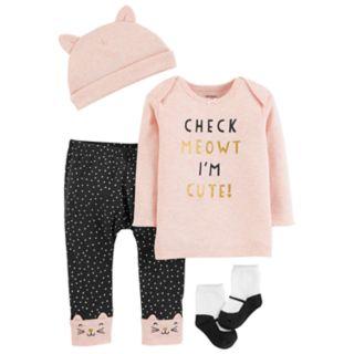 Baby Girl Carter's Foiled Graphic Tee, Polka-Dot Pants, Hat & Socks Set