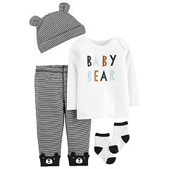 Baby Boy Carter's 'Baby Bear' Tee, Striped Pants, Hat & Socks Set