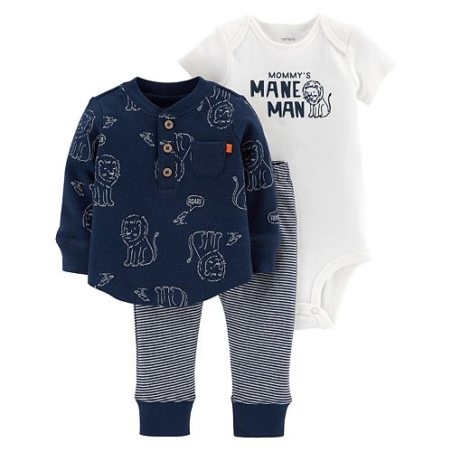"Baby Boy Carter's ""Mommy's Mane Man"" Bodysuit, Thermal Henley & Lion Pants Set"