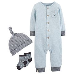 Baby Boy Carter's Coverall, Striped Hat & Socks Set