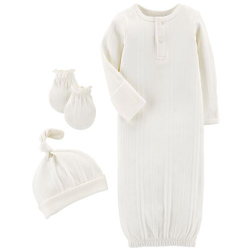 Baby Carter's Ribbed Gown, Cap & Gloves Set
