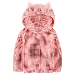 Baby Girl Carter's Hooded Textured Cardigan