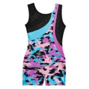 Girls 4-14 Jacques Moret Shimmery Camo Dance Biketard