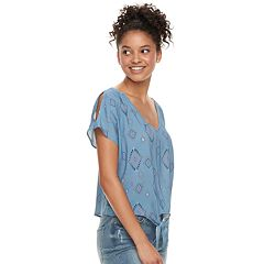 Juniors' Mudd® Printed Tie-Front Top