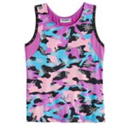 Girls 4-14 Jacques Moret Shiny Camo Dance Tank Top