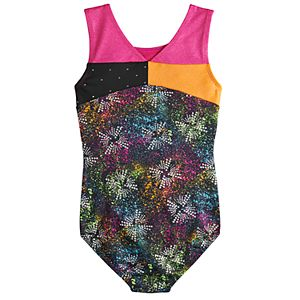 Girls 4-14 Jacques Moret Spotty Dots Colorblock Dance Leotard