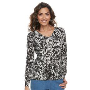Women's Caribbean Joe Palm Leaf Sweater
