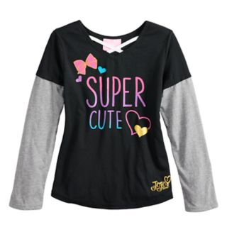 "Girls 4-14 JoJo Siwa ""Super Cute"" Cross Front Mock-Layered Graphic Tee"
