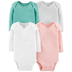 Baby Girl Carter's 4-pk. Solid Long Sleeve Bodysuits