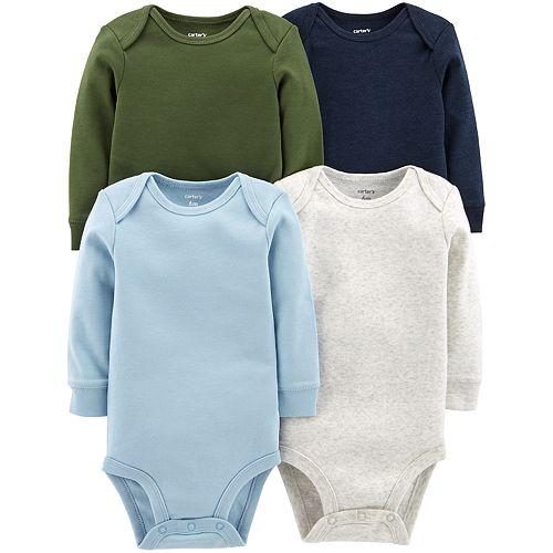 Baby Boy Carter's 4-pk. Solid Long Sleeve Bodysuits