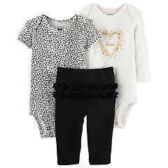 Baby Girl Carter's 3-pc. Cheetah Bodysuit, Love Bodysuit & Ruffled Pants Set
