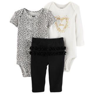 Baby Girl Carter's 3-pc. Cheetah Bodysuit, Love Bodysuit & Ruffled Pants Set