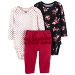 Baby Girl Carter's 3-pc. Floral & Heart Bodysuits & Ruffled Pants Set